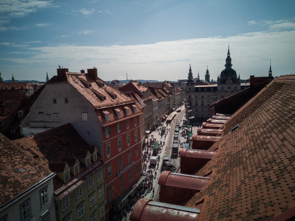 view over the Graz main square in summer