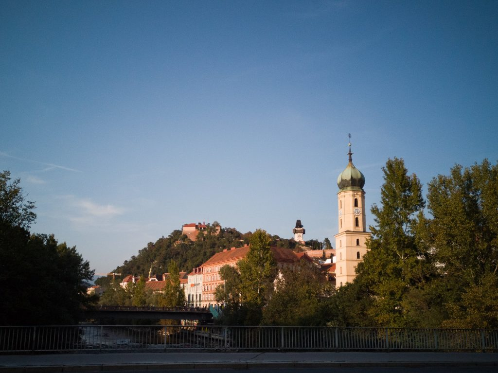 view over the schloßberg in Graz