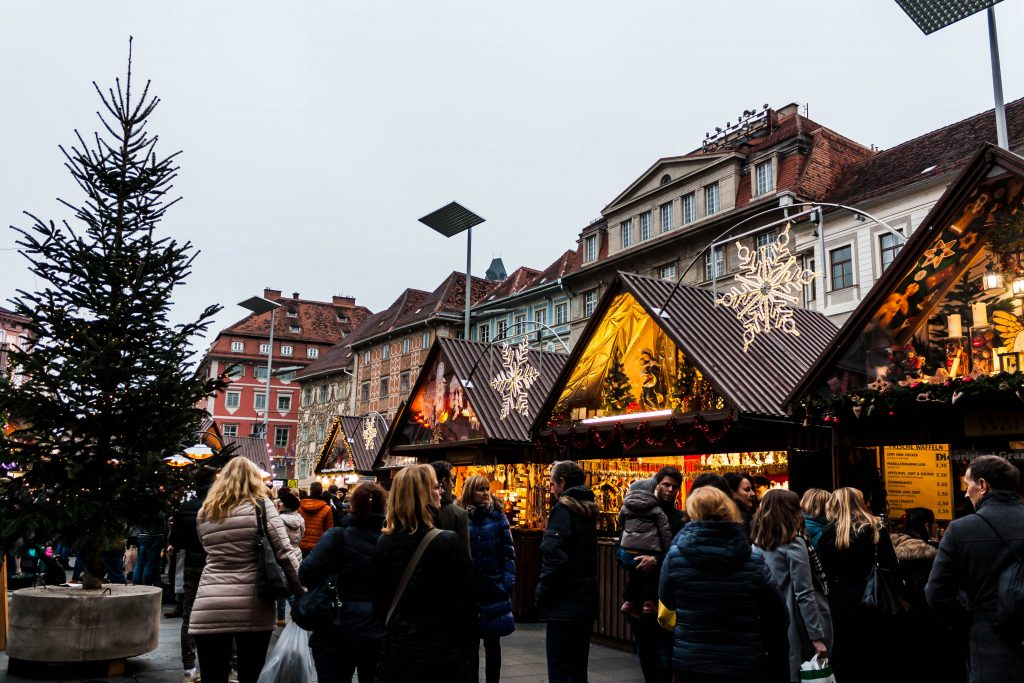 the christmas market in hauptplatz