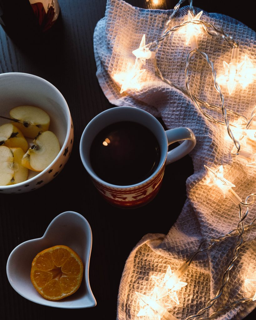 A mug of mulled wine on a table