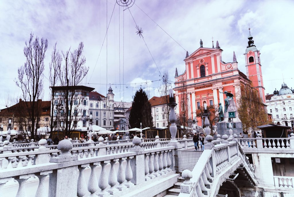 the three bridges and the cathedral of Ljubljana
