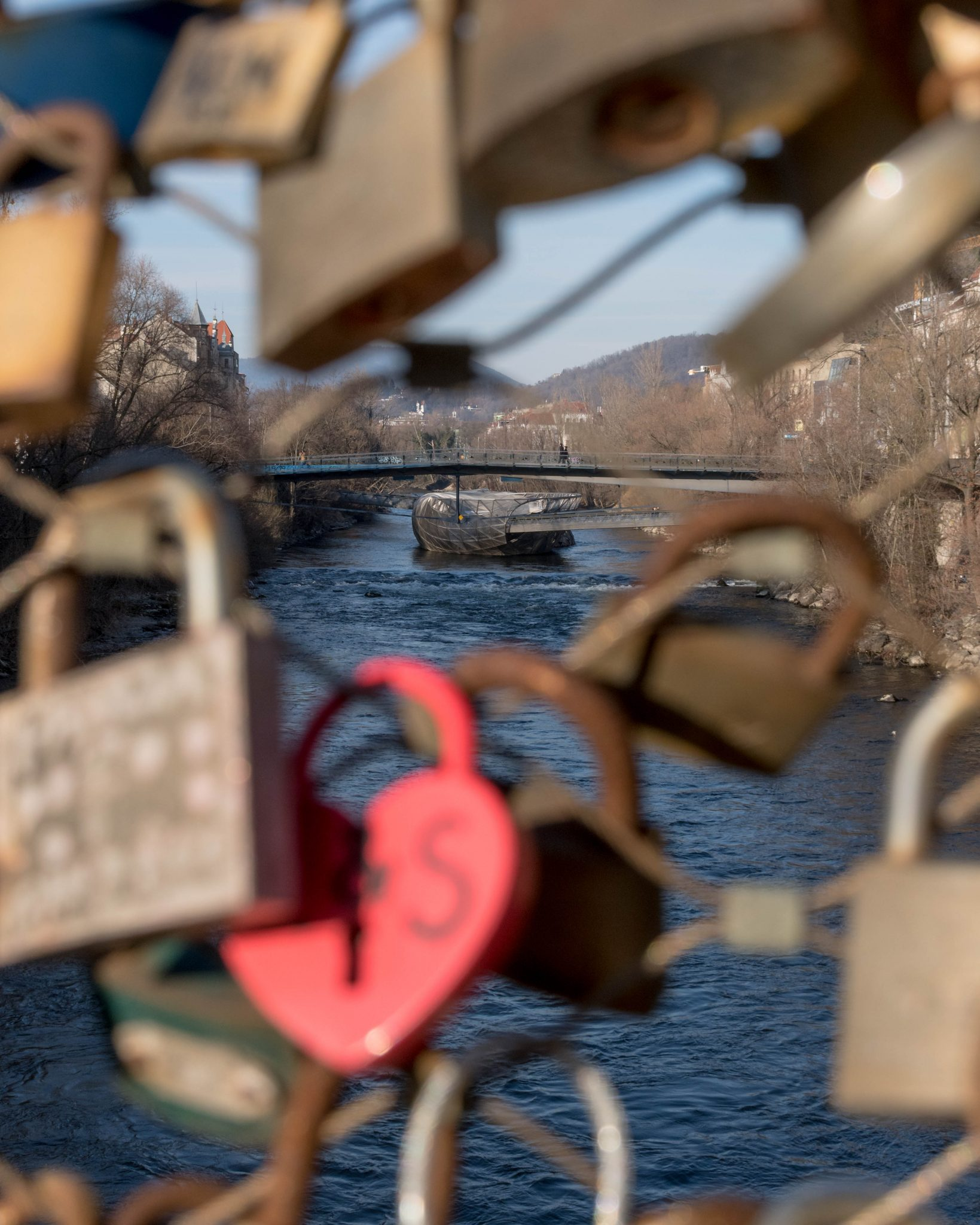 padlock bridge in Graz