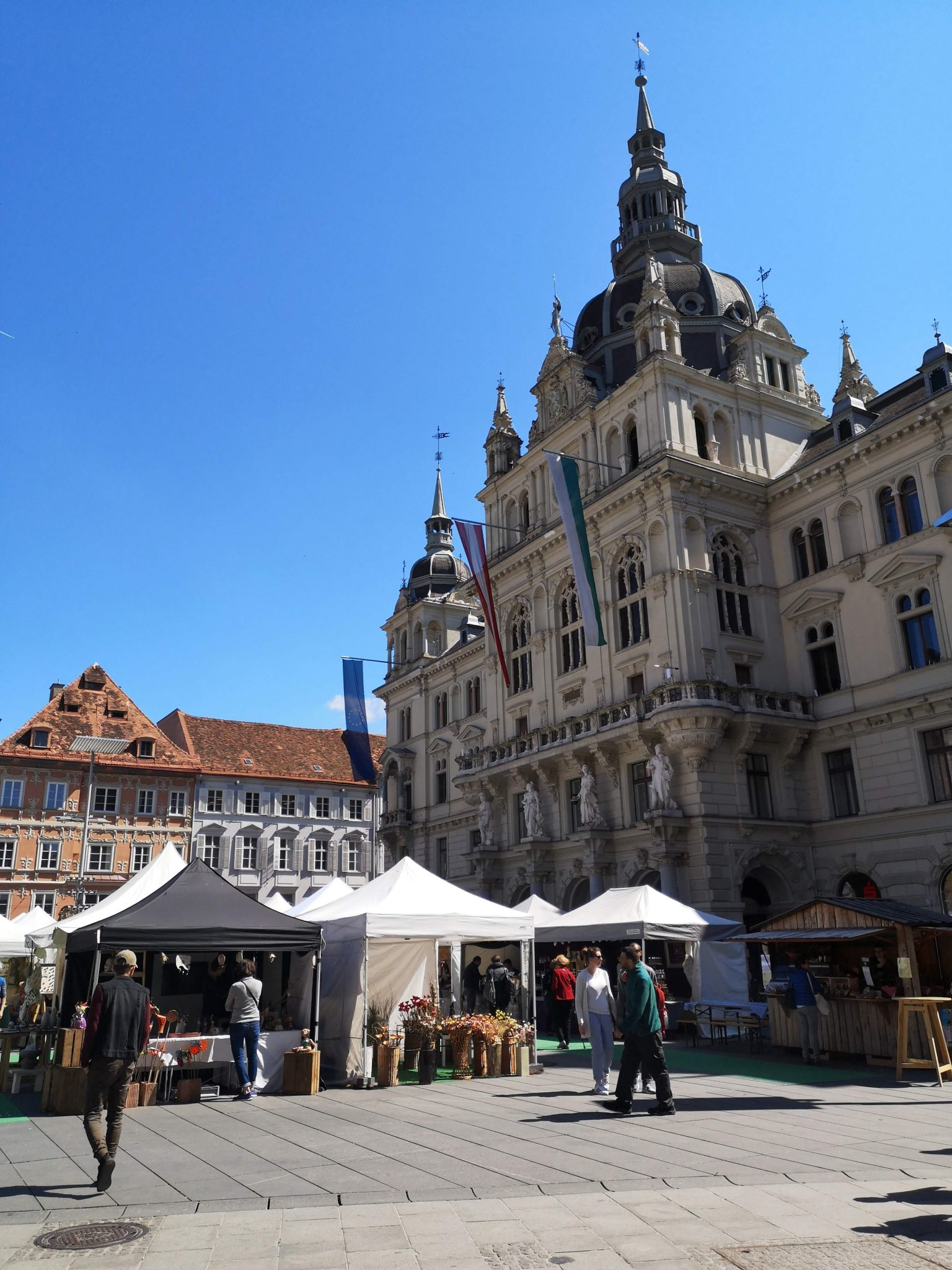 the main square in Graz with the easter market