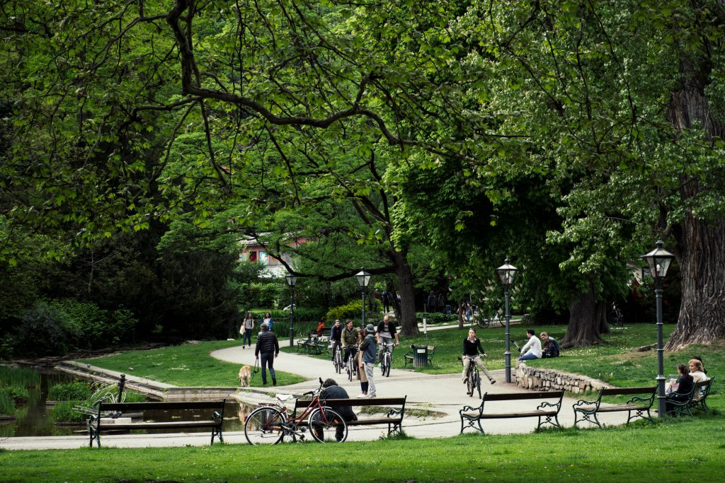 cycling in the Stadtpark in Graz