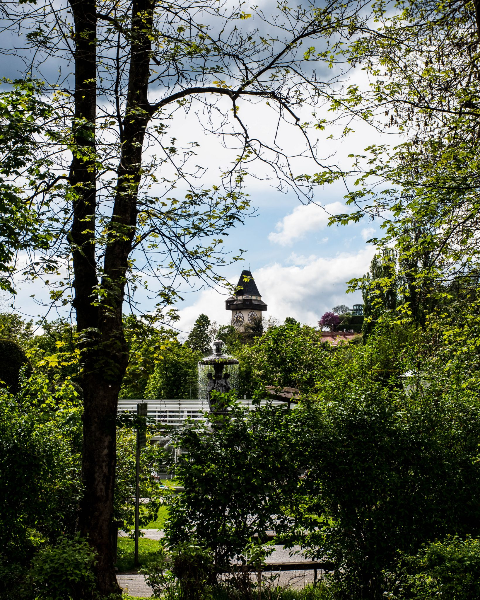 the Uhrturm and the Stadtpark in Graz