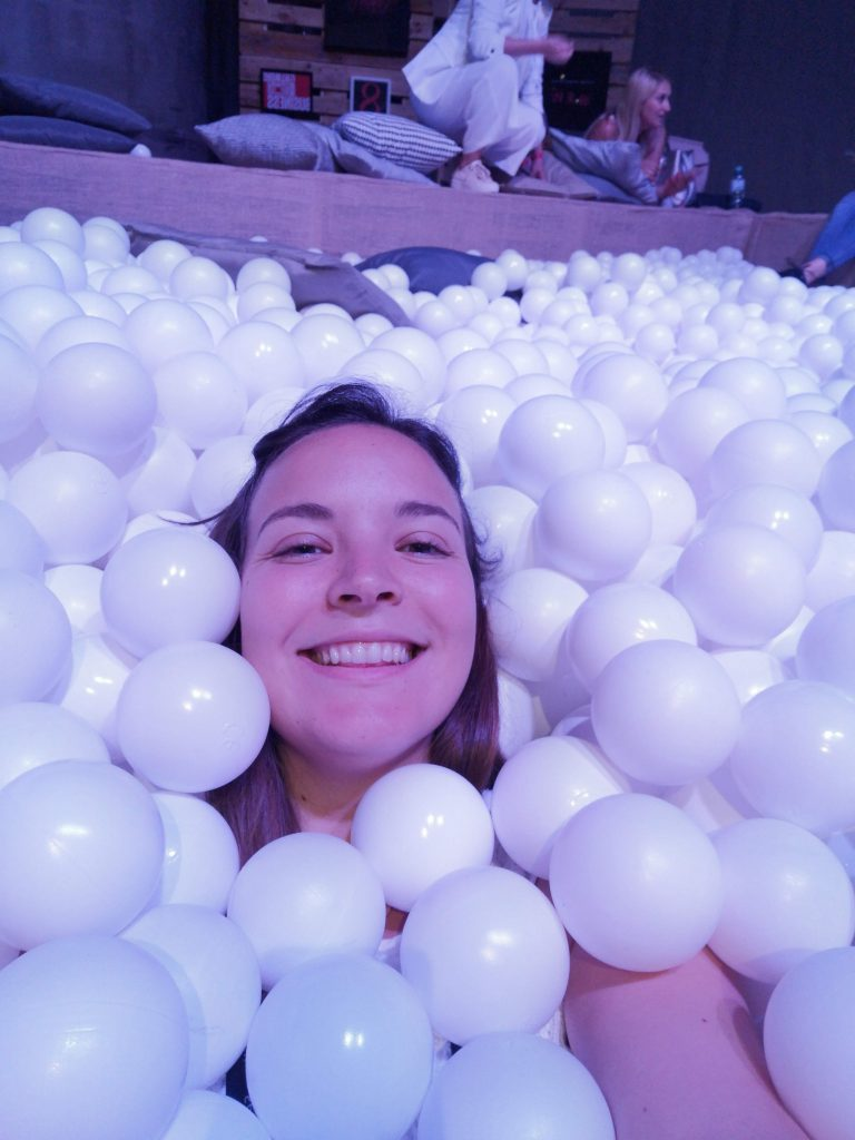 me in a ball pit at the fifteen seconds festival