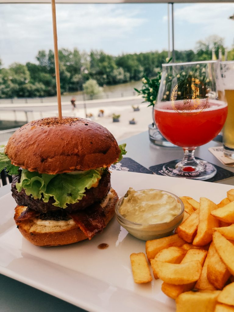 A burger and a beer from the Bevog brewery