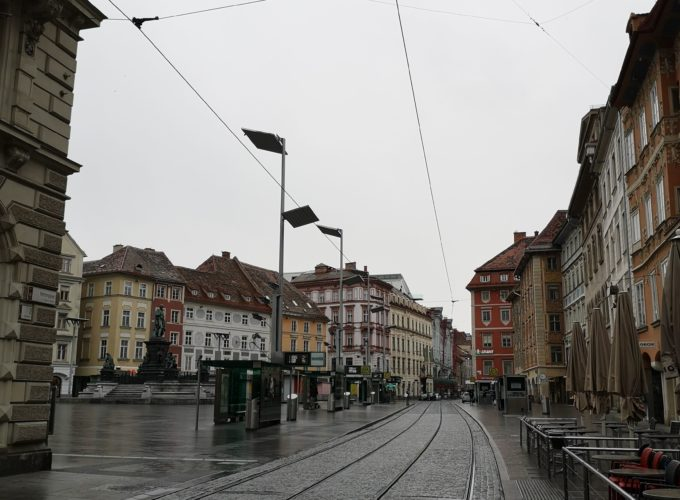 Graz Herrengasse during the Coronavirus lockdown