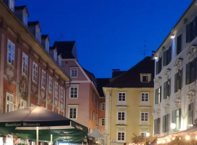 A nighttime picture of the city centre of Graz